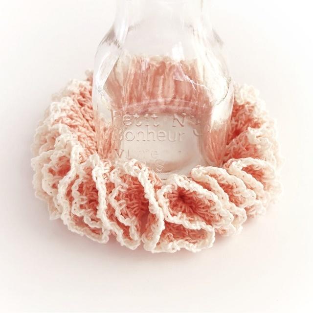 手編み雑貨 HanahanD 春色 パステル フリルシュシュ レース