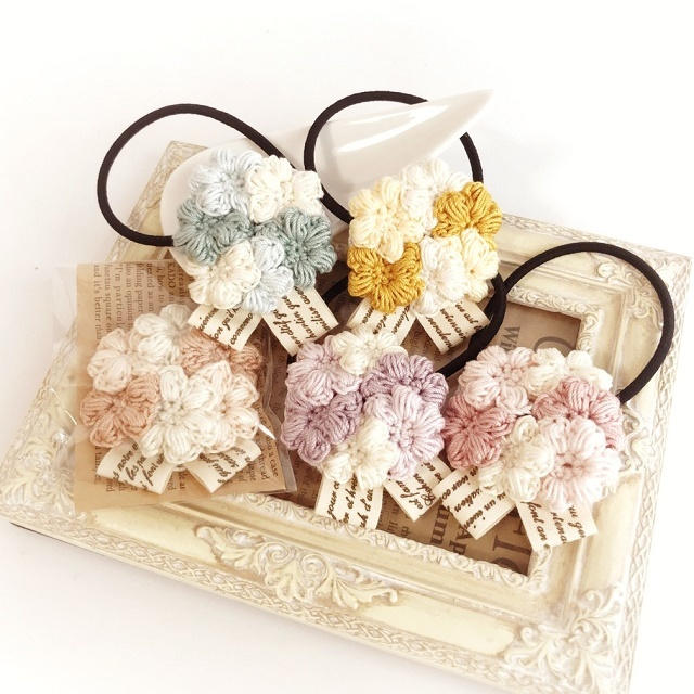 手編み雑貨 HanahanD レース 小花 ヘアゴム
