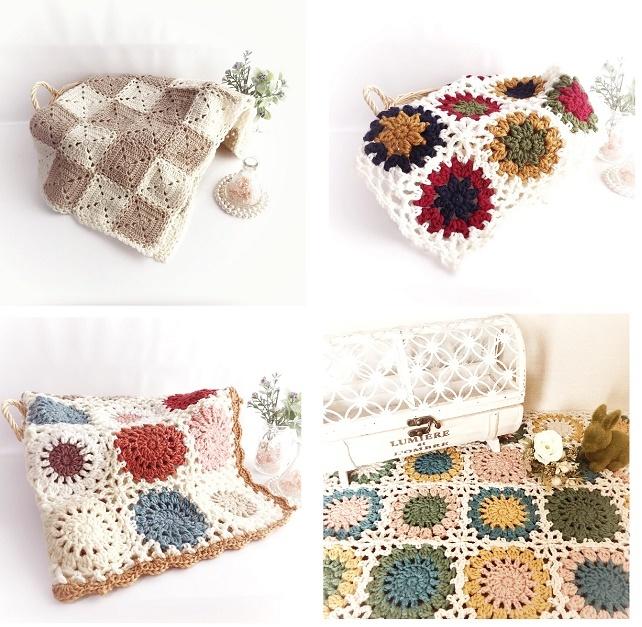 手編み雑貨 はなはんど モチーフ繋ぎ マット、カバー、ひざかけ、ドイリー
