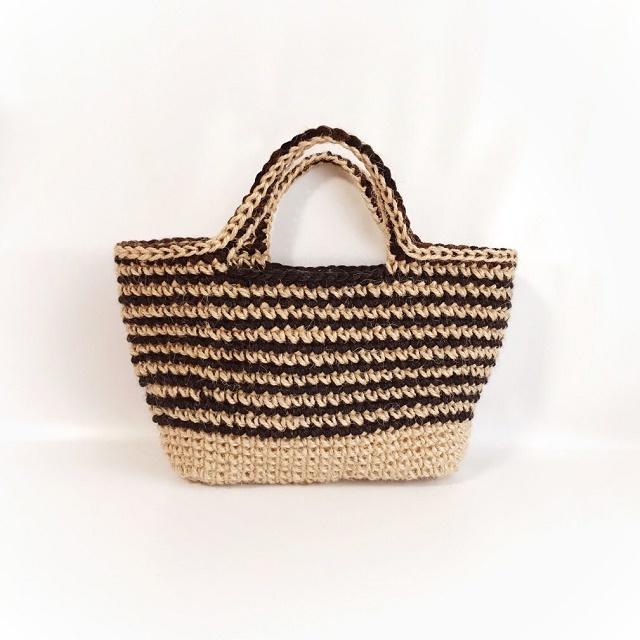 手編み雑貨 HanahanD 冬のかごバッグ 麻バッグ