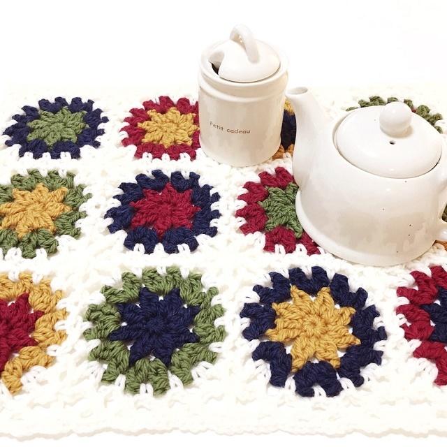 手編み雑貨 HanahanD モチーフ繋ぎのマット、カバー、ドイリー