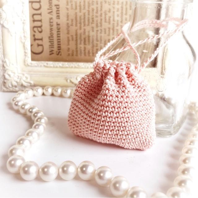 手編み雑貨 HanahanD ミニ巾着袋 ケース お守り袋
