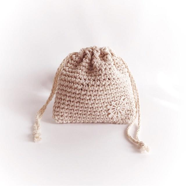 手編み雑貨 HanahanD マスクケース 巾着袋 コットン 年中素材
