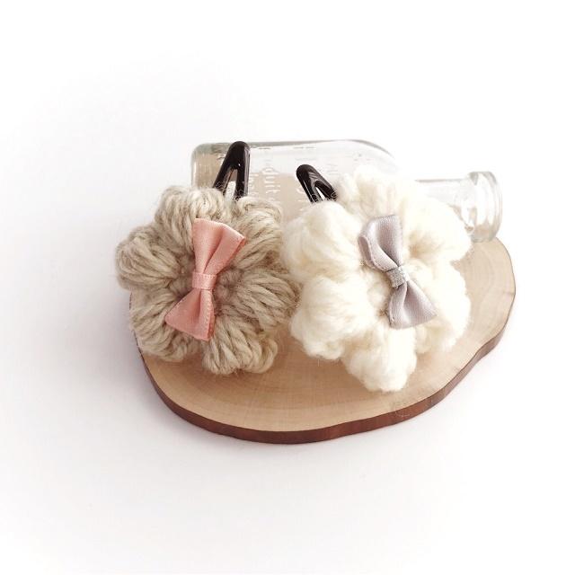 手編み雑貨 HanahanD 花とリボンのパッチンどめ