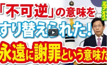 【動画】韓国政府、「不可逆的」の意味を「解決の不可逆性」とすり替えられた [嫌韓ちゃんねる ~日本の未来のために~ 記事No18728