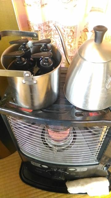 湯煎で熱々オイル