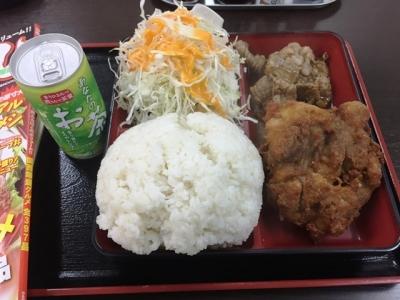 171021あさチャン2つ選ぶと600円の定食で唐揚げと焼肉を選ぶ。