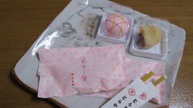 花びら餅と上生菓子on絵志野四方皿