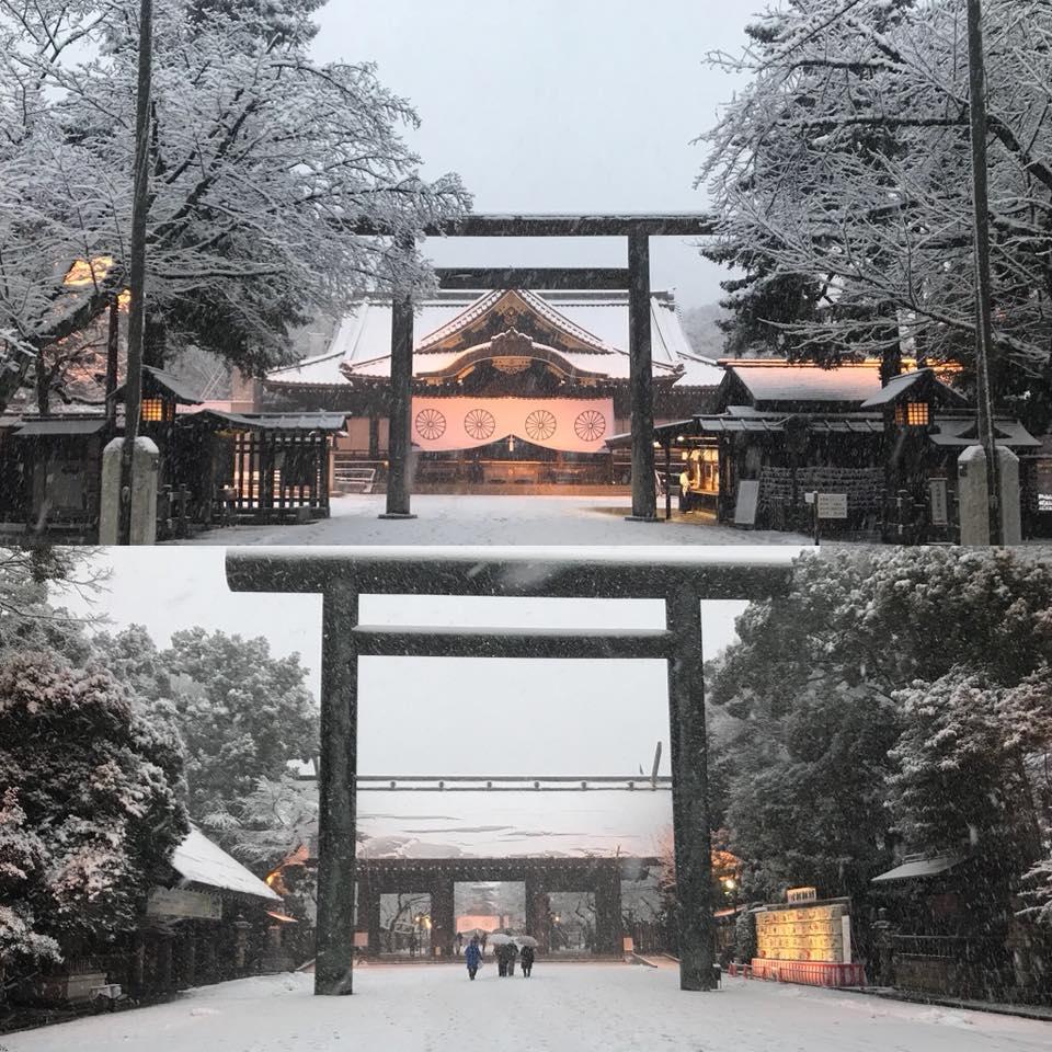 雪化粧の靖国神社