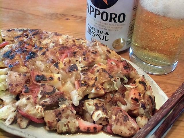 松明焼きとビール