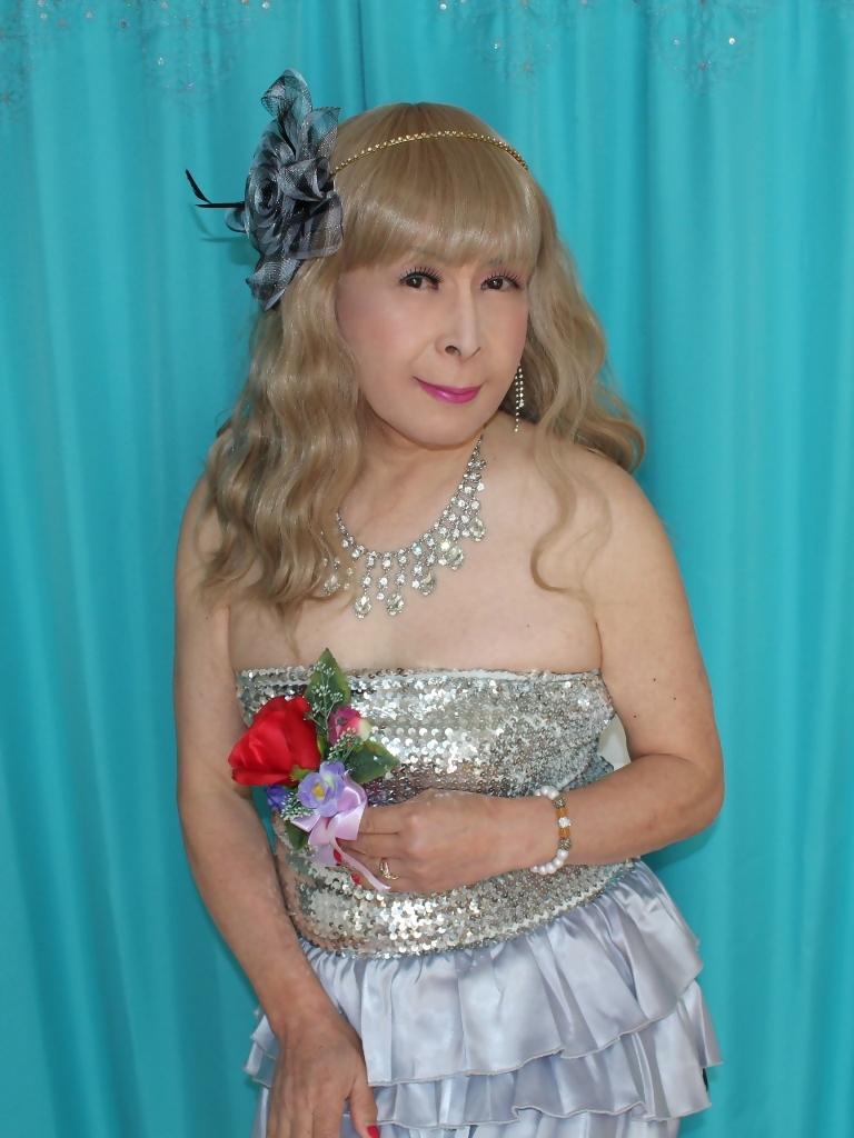 銀色の胸スパンミニドレスF(4)