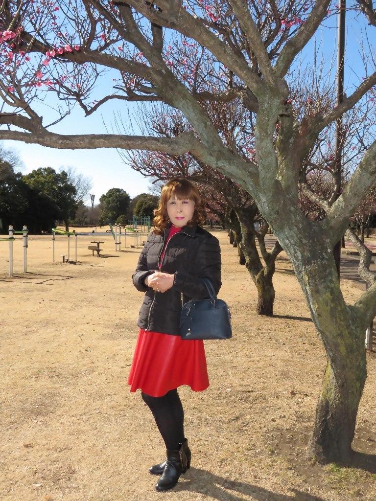 黒ダウン赤レザーフレアーA(4)