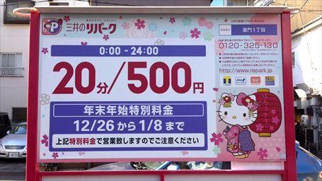キティちゃん仕様のパーキング(特別料金)