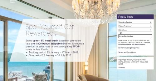 スターウッド プレミアムルームまたはスイートで15%のホテルクレジットと1,000ボーナススターポイント