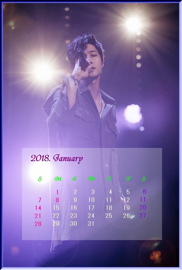 2018 1月のカレンダー