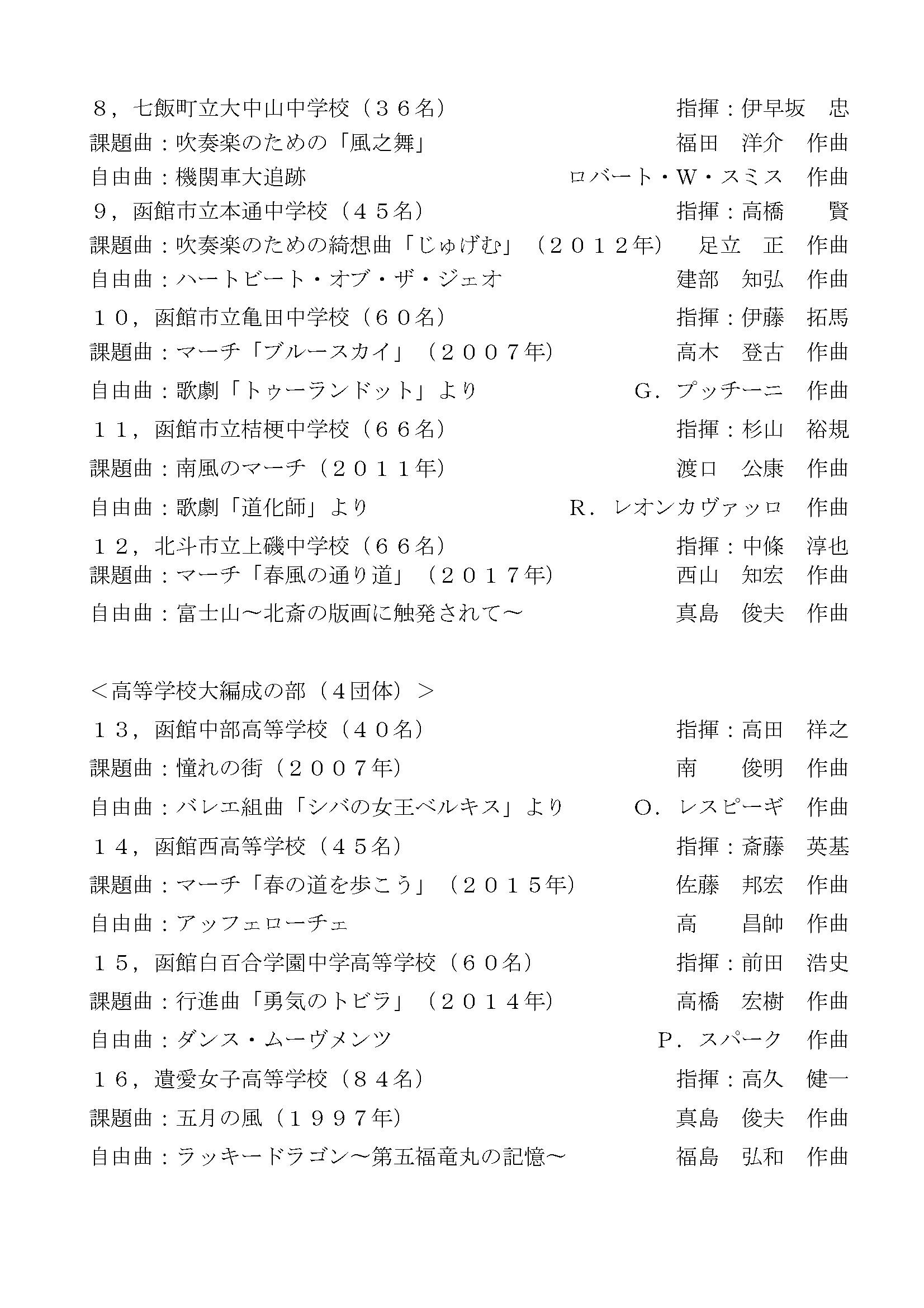 『道南地区吹奏楽コンテスト2018』プログラム_ページ_3