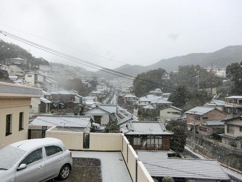 早朝は雪でしたね。