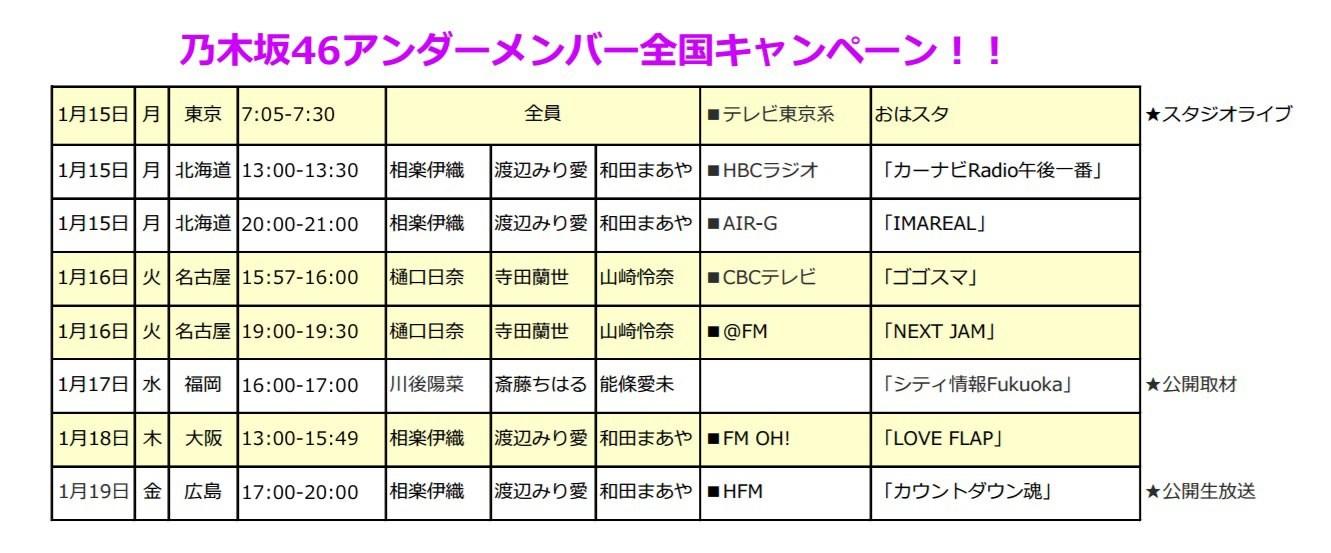 乃木坂46アンダーアルバム「僕だけの君」全国PRキャンペーン