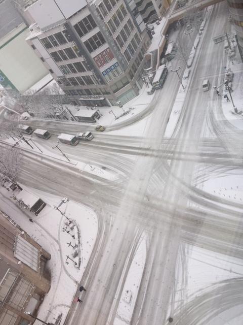 雪の交差点_仙台