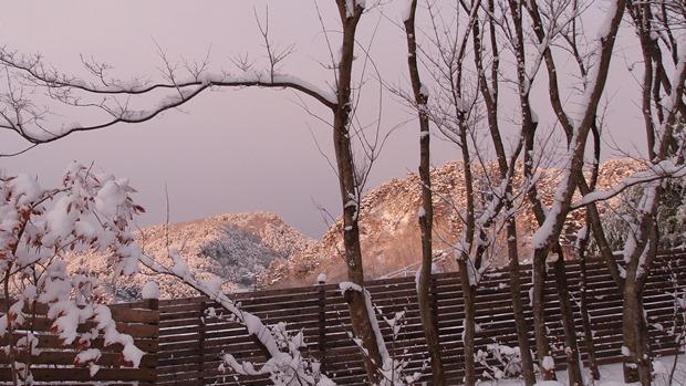 近くの山の雪景色