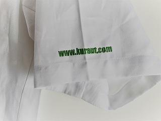 白衣にホームページアドレスを刺繍