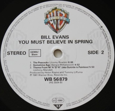 Bill Evans You Must Believe In Spring Warner Bros. WB 56879 -2