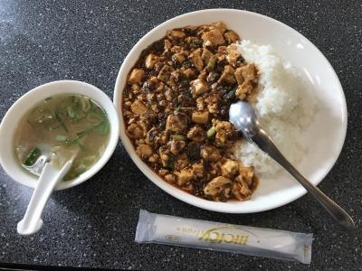 葉豆腐飯(上から)