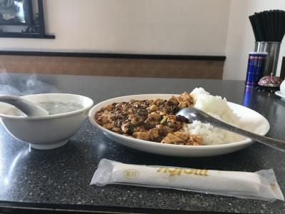 葉豆腐飯(横から)