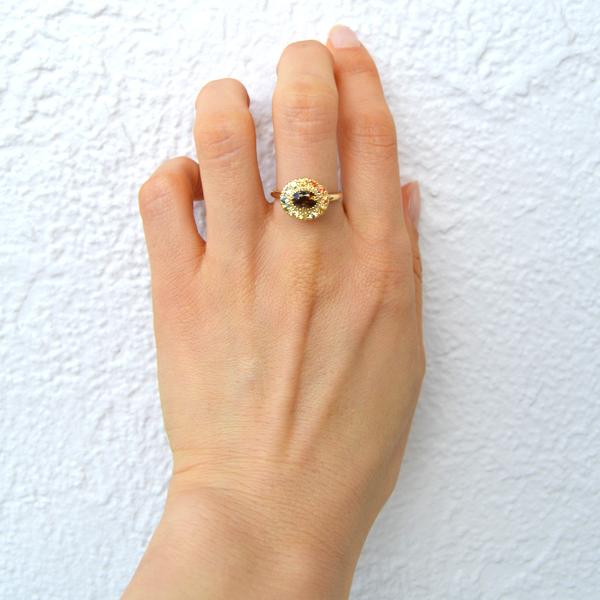 K18YG製イエローゴールドアンダリューサイトカラーサファイアリング指輪