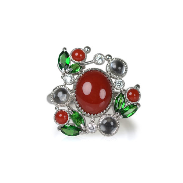 Pt900製プラチナ珊瑚ダイアモンドグリーンガーネットトパーズリング指輪手作り加工ハンドメイドジュエリー