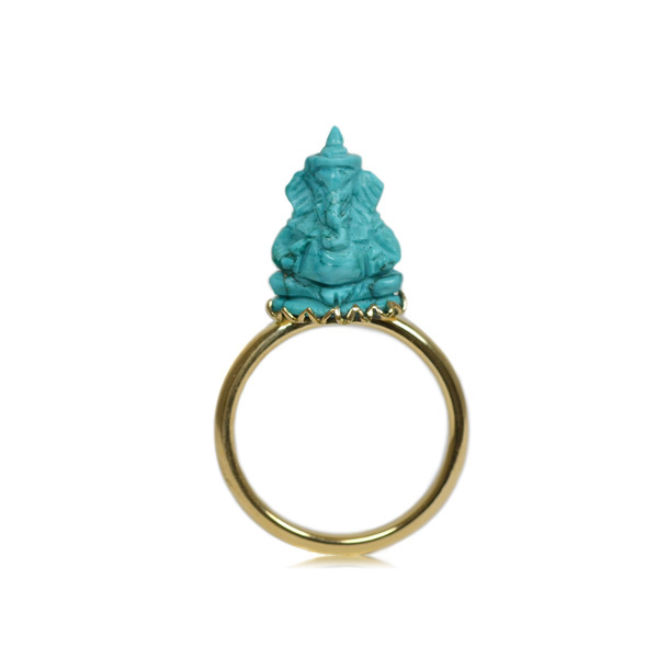 K18YG製イエローゴールドトルコ石ガネーシャ彫刻リング指輪
