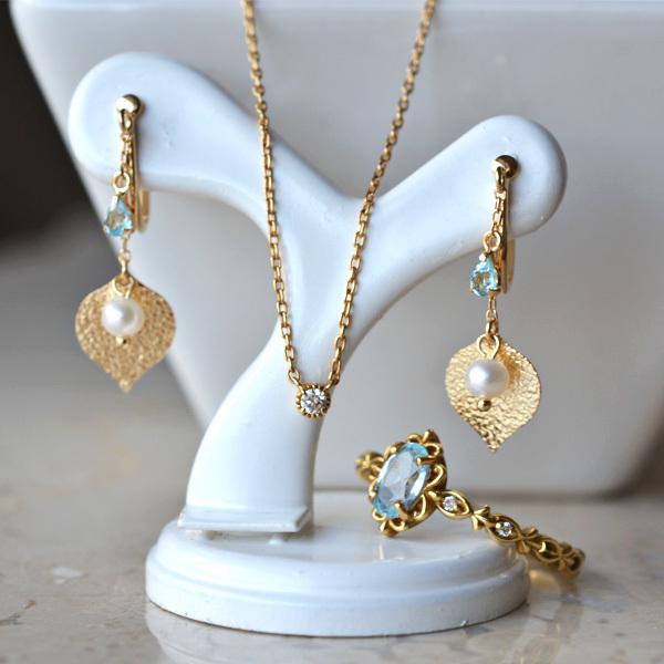 K18YG製イエローゴールドブルートパーズダイアモンドリング指輪淡水真珠イヤリングダイアモンドペンダントネックレス