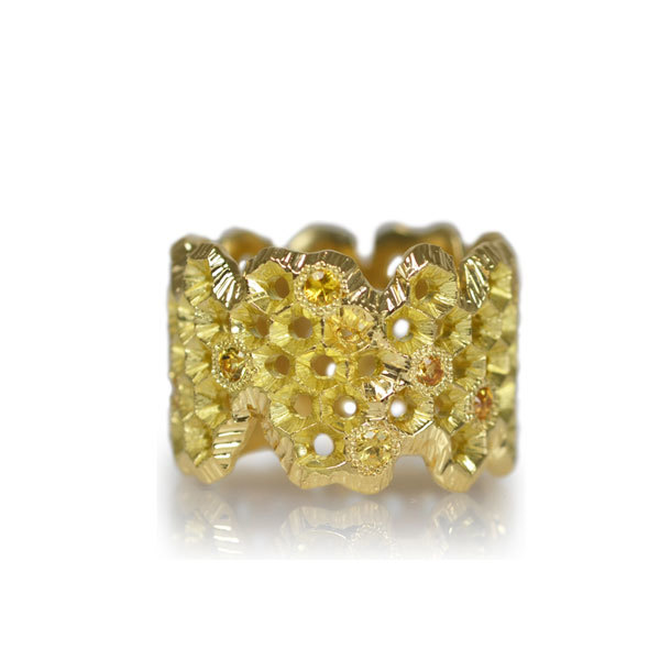 K18YG製イエローゴールドサファイアハニカムリング指輪