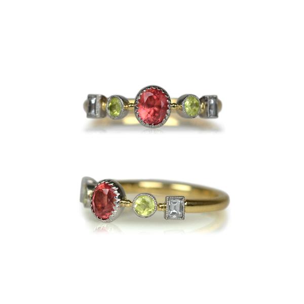 Pt900K18YGプラチナイエローゴールドロードクロサイトパロットクリソベリルダイアモンドリング指輪