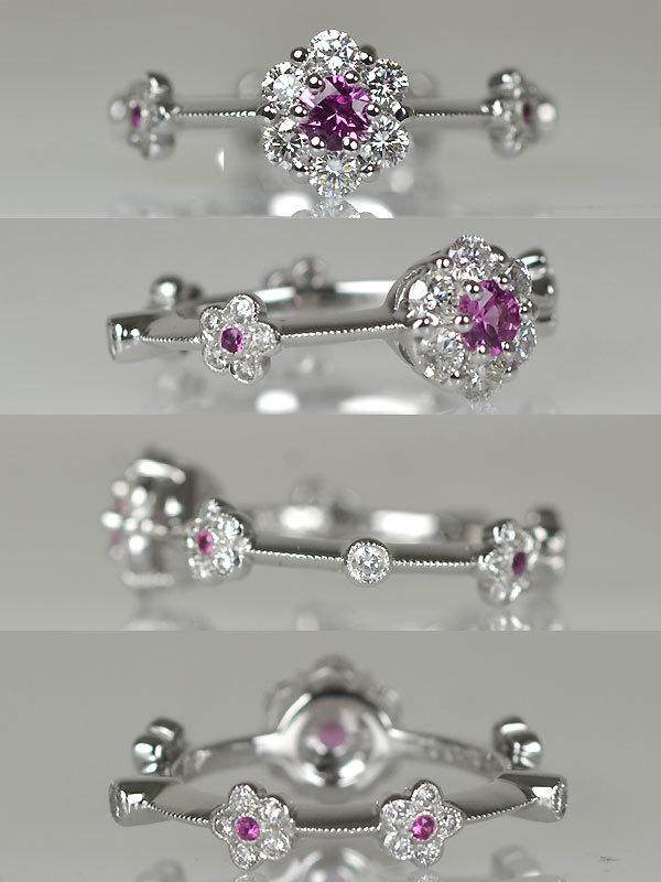 K18WG製ピンクサファイアダイアモンドピンキーリング指輪フルエタニティ花フラワーモチーフミル打ちミルグレイン