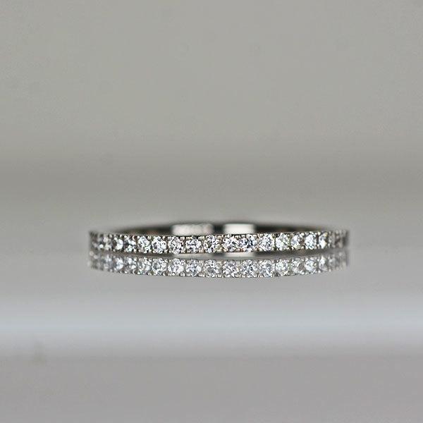 Pt900製ダイアモンドハーフエタニティリング指輪