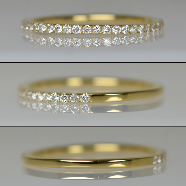K18YG製ダイアモンドハーフエタニティリングダイアモンドリング指輪
