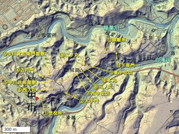 岡城地形図