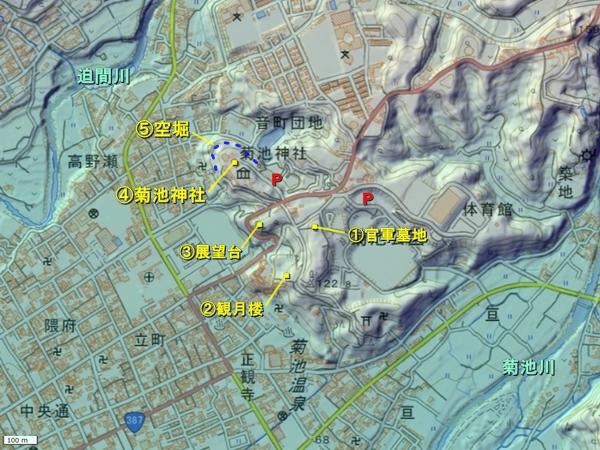 菊池城地形図