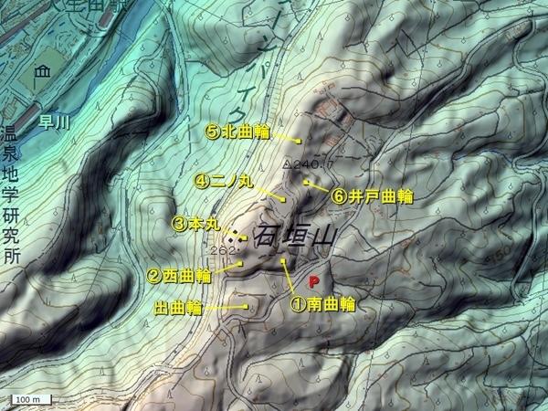 石垣山城_地形図