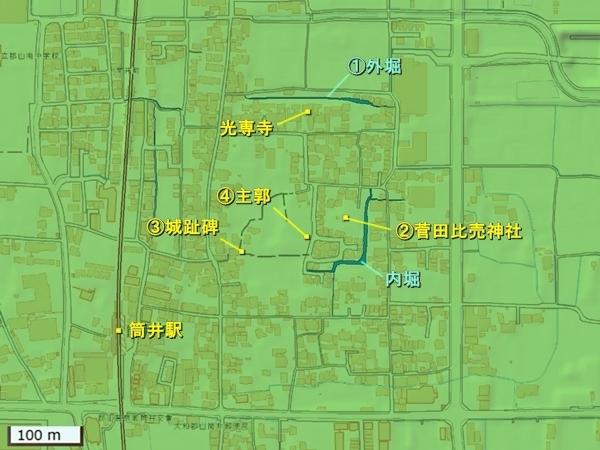 筒井城_地形図