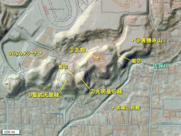 多聞城地形図