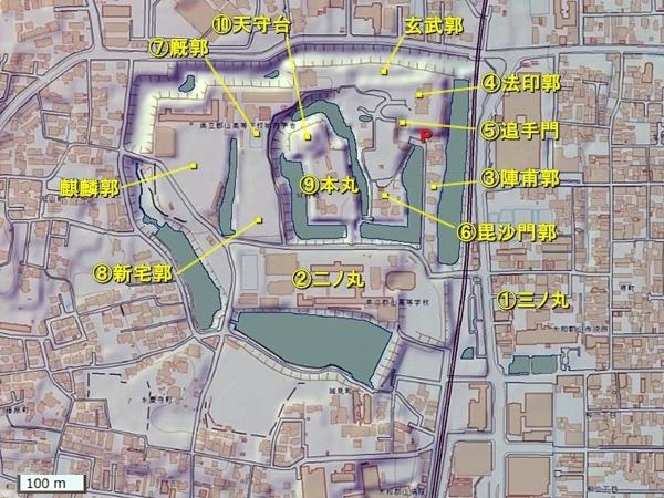 大和郡山城_地形図