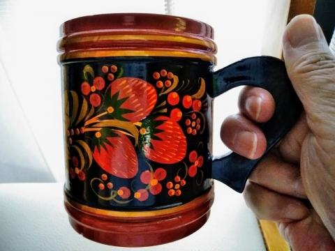 ロシア伝統ホフロマ塗りマグカップ1