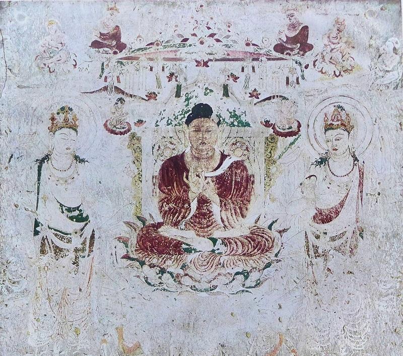 焼損前の法隆寺金堂壁画コロタイプ写真