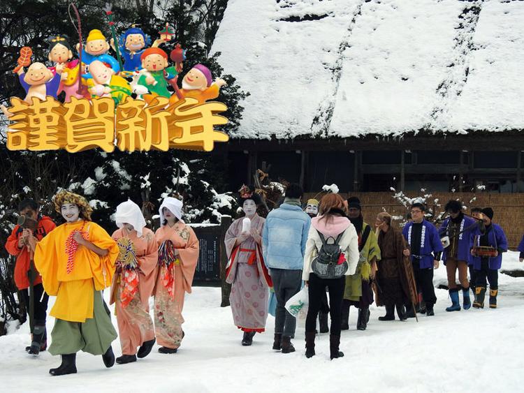 2018年戌年 2018年新春元旦 世界遺産白川郷 春駒踊り~2