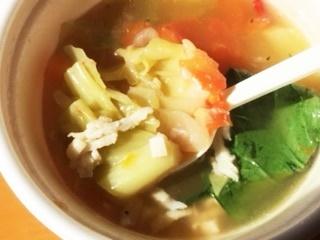 小松菜トマトスープ中温