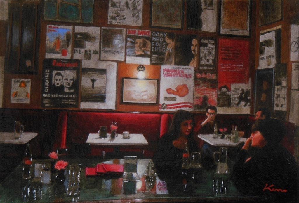 サムホール「夜のカフェ」