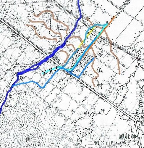 大正5年地形図 琴似屯田兵村を流れていた用水路