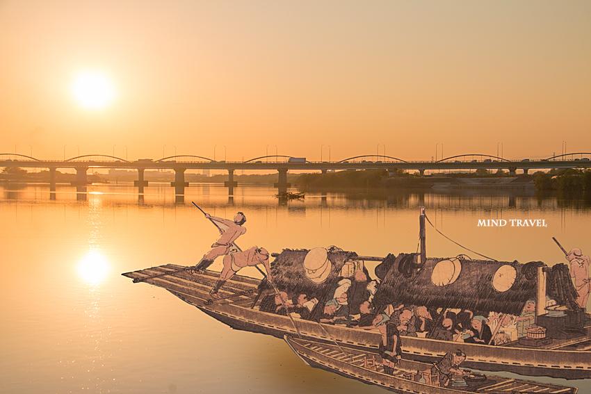 淀川夕景に広重の浮世絵を合成